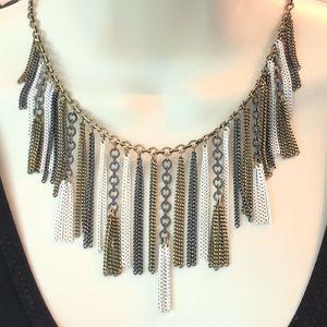 Silpada Fringe Brass Hematite Bib Collar Necklace